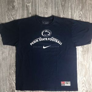 (VTG) Mens L NIKE PENN STATE Football NAVY T-Shirt